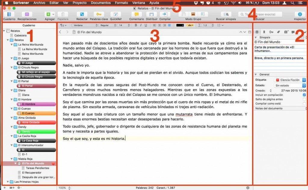 Mi proyecto Scrivener para relatos
