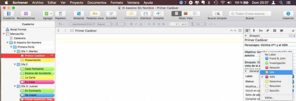 Usar Scrivener - Etiquetas