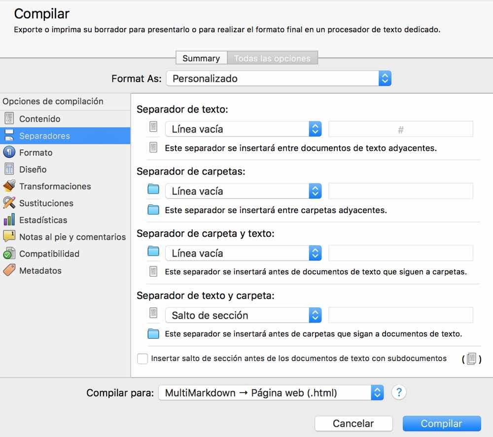 Maquetar un libro usando Scrivener el compilador