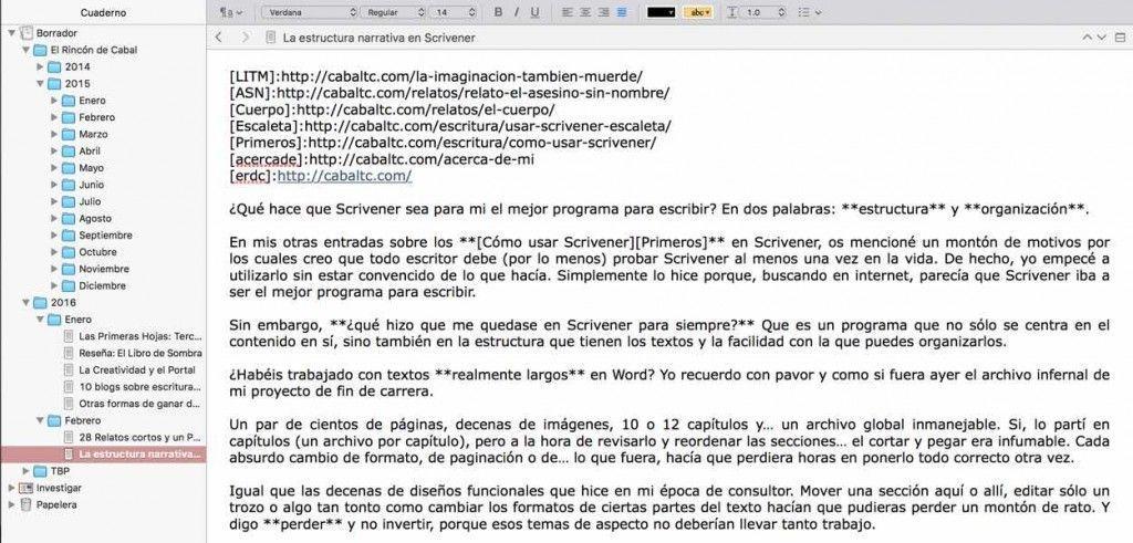 La estructura en Scrivener - El Rincón de Cabal