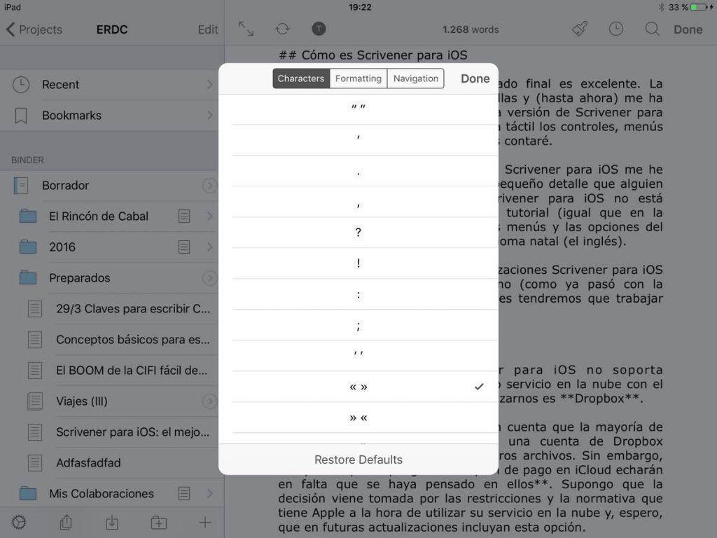 Scrivener para iOS configurar teclado