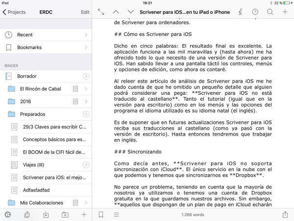 Scrivener para iOS el programa