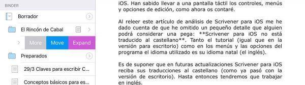 Scrivener para iOS expandir