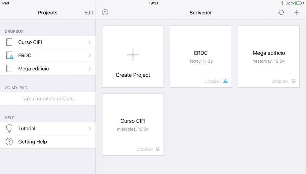 Scrivener para iOS proyectos