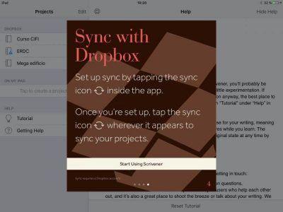 Scrivener para iOS sincronizar