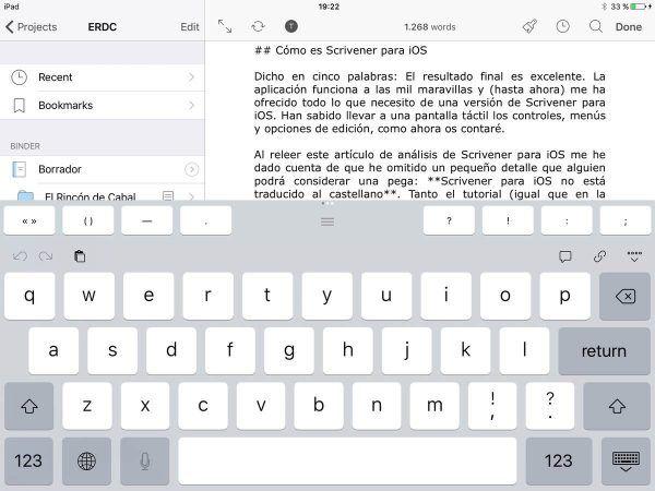 Scrivener para iOS teclado