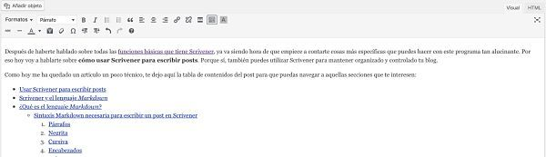 Cómo usar Scrivener para escribir posts: wordpress