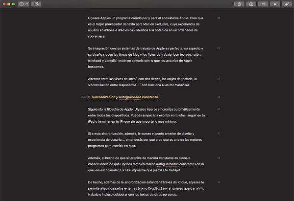 Interfaz de Ulysses App