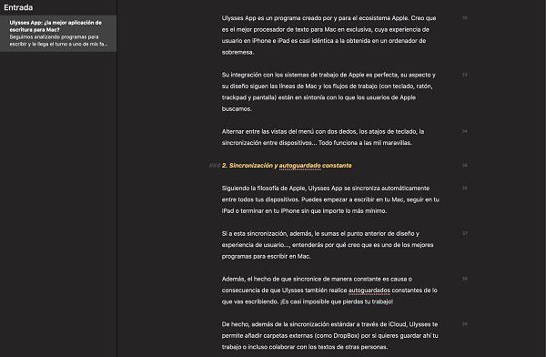 Menú de archivos de Ulysses App