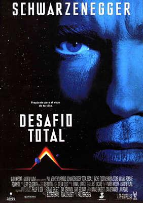Cartel de la película Desafío Total de Arnold Schwarzenegger, una película cyberpunk
