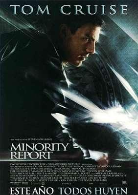 Cartel de la película Minority Report, ciberpunk basado en una historia de Philip K. Dick